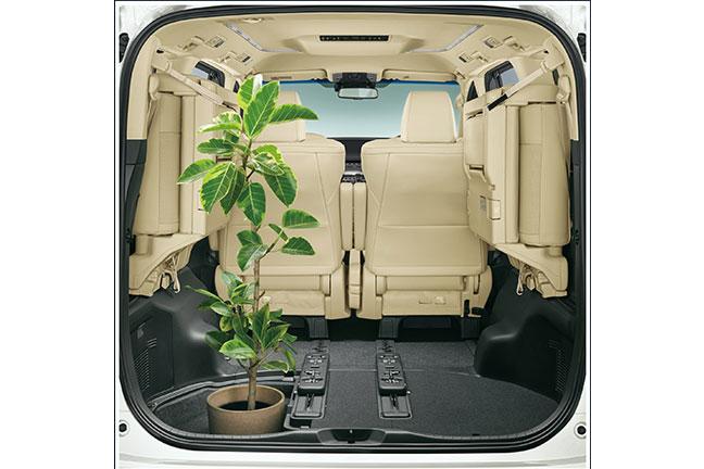 アルファードの荷室 サードシートを左右に跳ね上げ、床下収納用のデッキボードを外し、観葉植物を積載した状態(HYBRID X)
