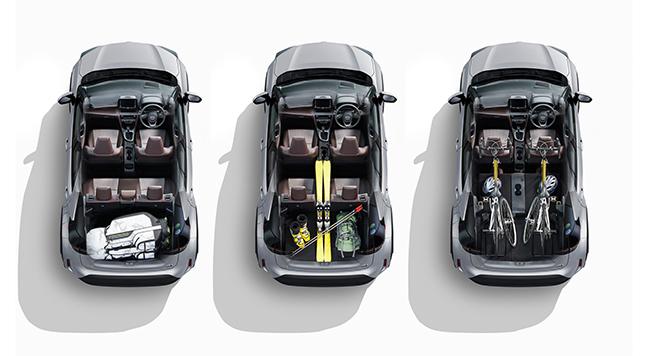 ヤリスクロス左からスタンダードモード、4:2:4モード、フラットモード