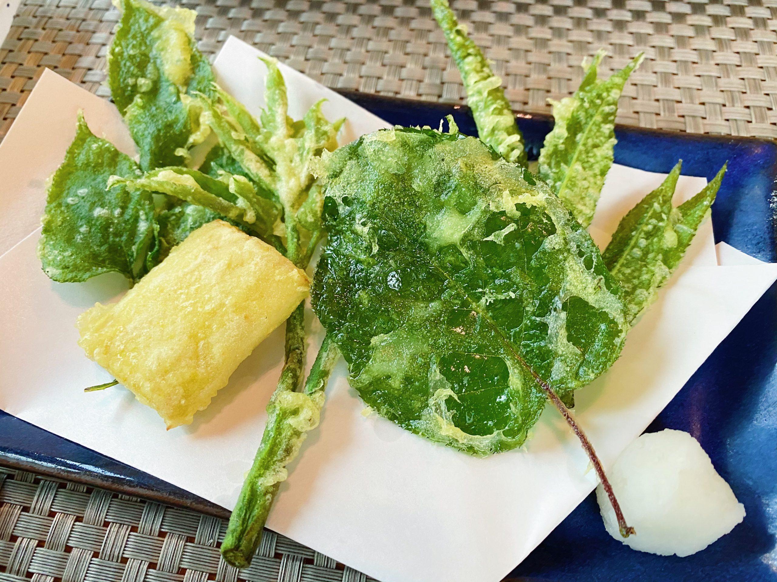 高峰温泉夕食「季節野菜の天ぷら」