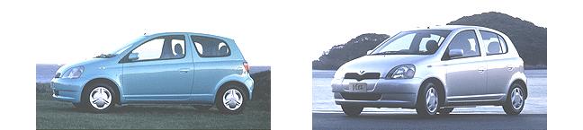 1999年登場時のヴィッツU 3ドア(左)とヴィッツU 5ドア(右)